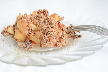 Apple crumble served