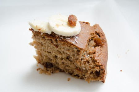 Slice of gluten free banana cake