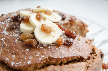 Close up of gluten free banana cake