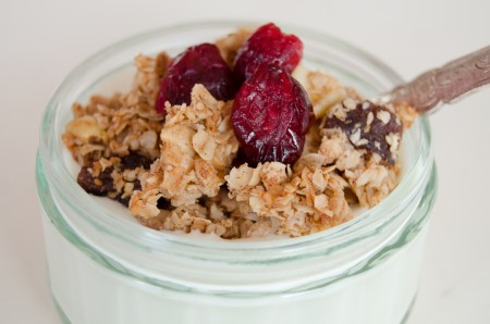 Crunchy granola recipe, served with dried cranberries