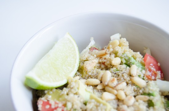 Quinoa salad avocado lime tomato pine nuts