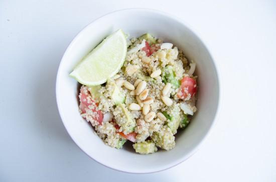 Alternative Lunches (2) Quinoa salad with avocado, tomato, pine nuts ...