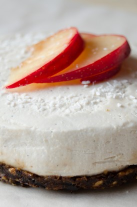 Raw vegan cheesecake with dried plums prunes coconut vanilla