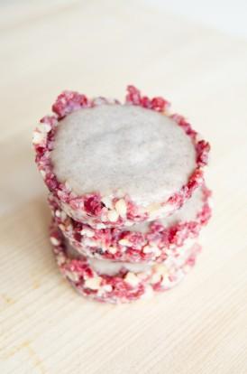 Frozen Cranberry Almond Banana Coconut Ice Cream Tart